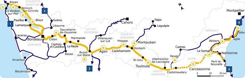 Carte canal des deux mers